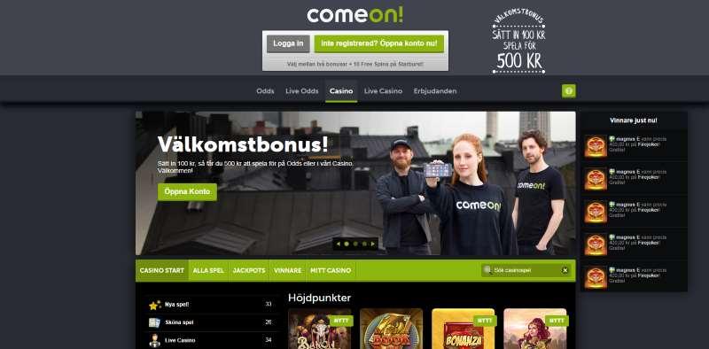 ComeOn Casino skärmdump