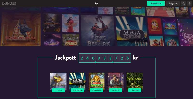 Dunder Casino skärmdump