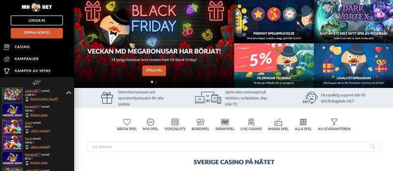 Mr Bet casino skärmdump